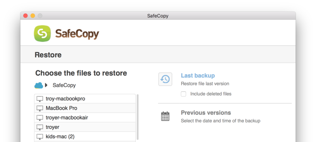 SafeCopy Backup - Secure backup for individuals and team